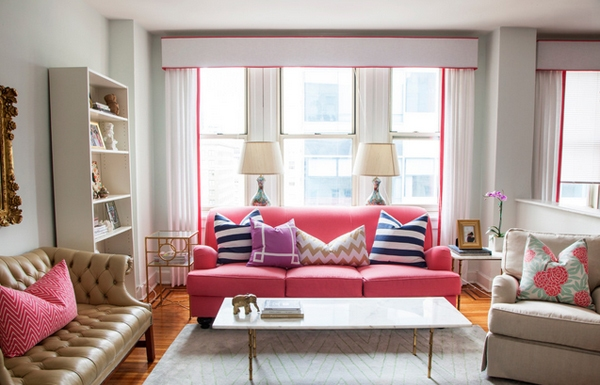 Charming Pink Living Room Interior Design