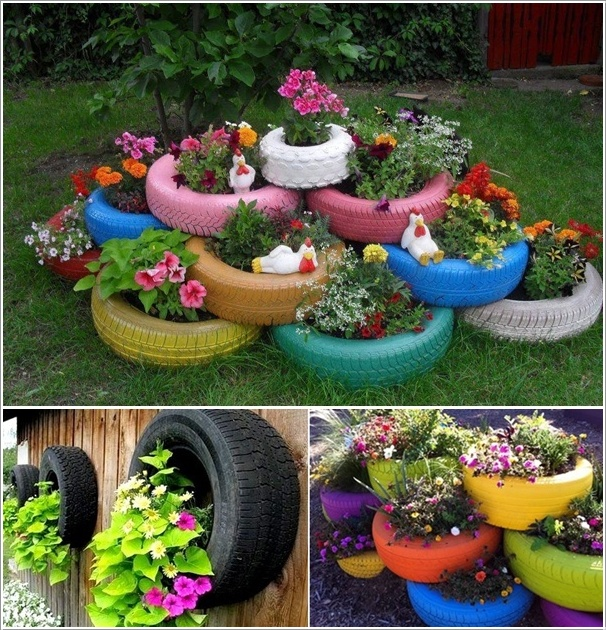 15 wonderful ideas to upcycle and reuse old tires for Adornos de jardin