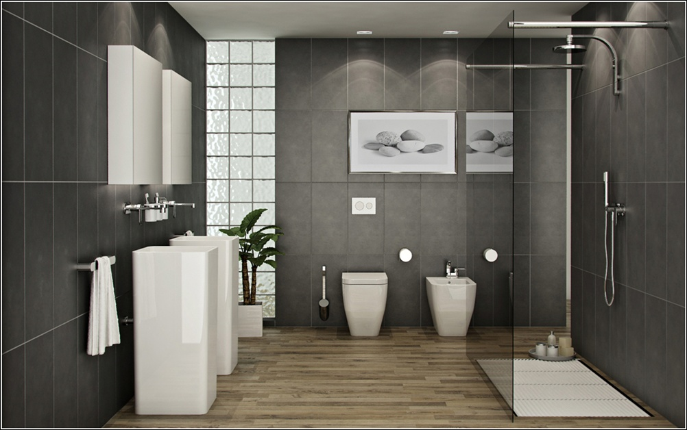 Luxurious bathrooms with wooden floors for Grey wood floor bathroom