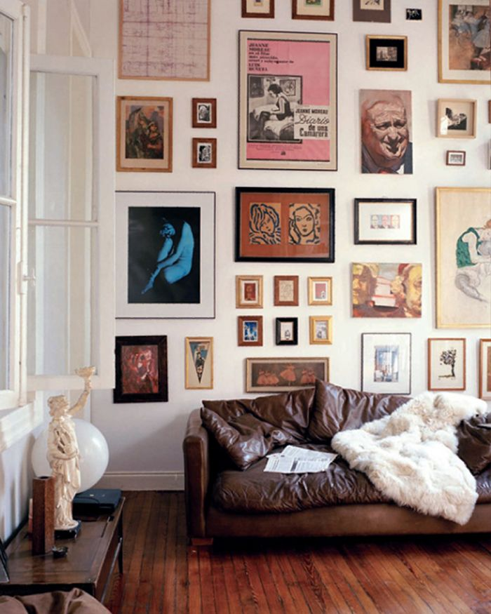 Let it be art cool wall displays above the sofa Art gallery interior design