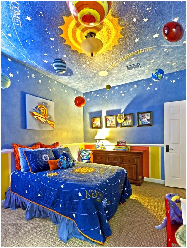 11 over the top themes for kids bedroom for Galaxy bedroom ideas