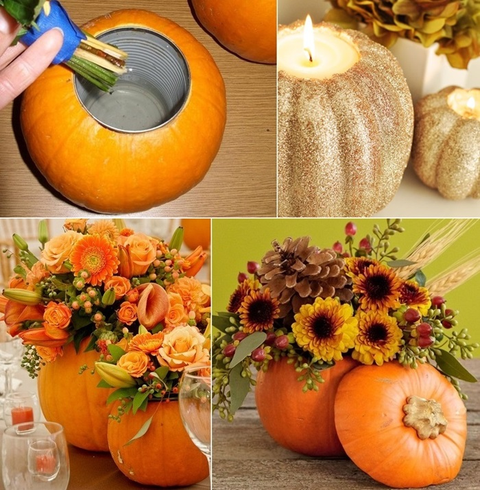 Would you try making a pumpkin vase or candleholder - Calabazas decoradas para halloween ...