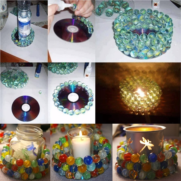 Would you try making these marble candle holders for Waste material craft ideas in hindi