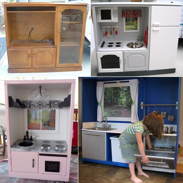 Tv Cabinet Made Into Play Kitchen