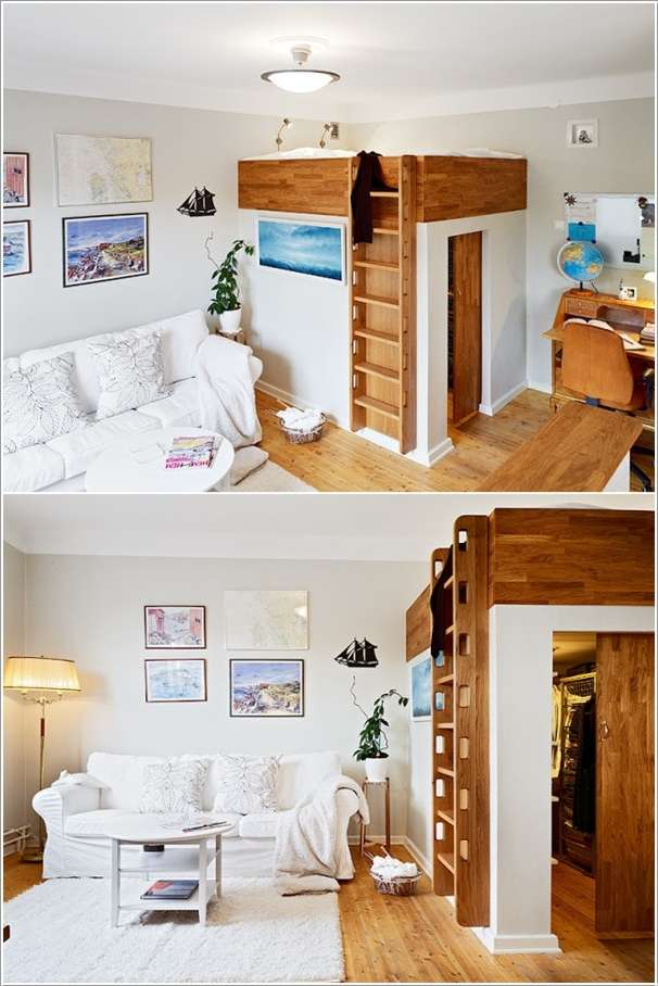 If a Walk-in-Closet is Your Dream Even in a Small Space then Loft Your Bed, Fulfill Your Dream  10 Ingenious Ideas for Small Space Interiors 109