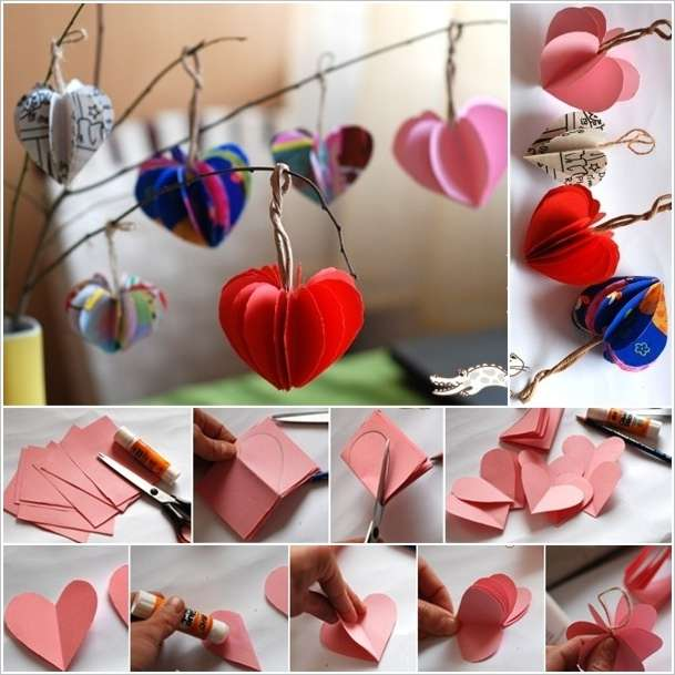 Easy paper hearts tree to decorate your home for Hearts decorations home