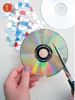 2.Cut the CD in various form pieces.