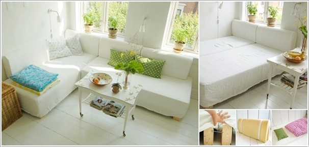 L Shaped Couch that Transforms into a Bed  10 Ingenious Ideas for Small Space Interiors 511
