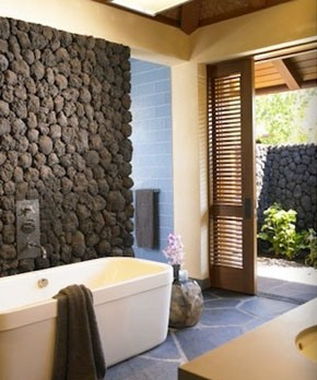Stone-wall bathroom via Dara Rosenfeld Design