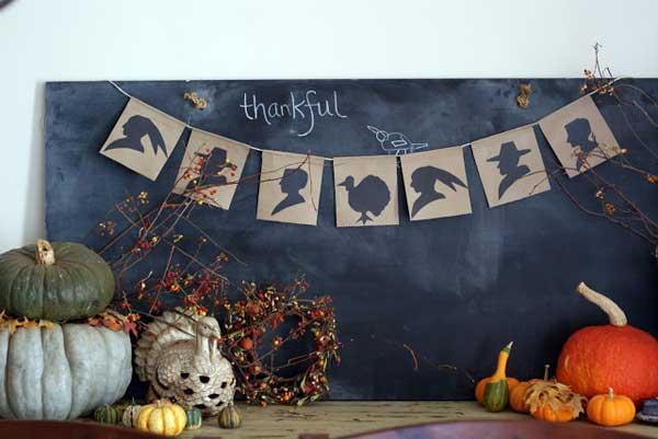 Thanksgiving silhouette banner