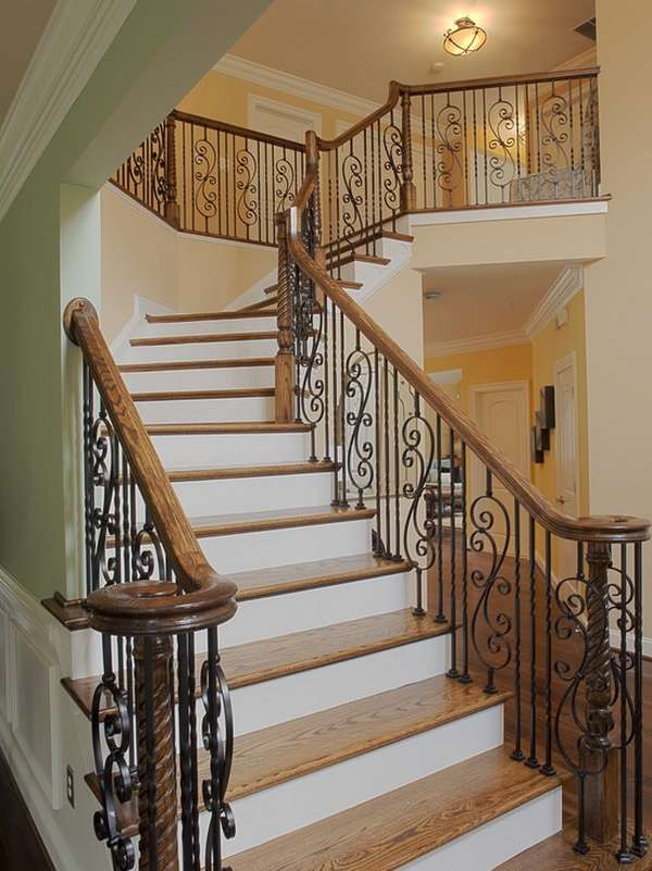 Unique stair grills can add a quality look to your home for Interior wood railing designs