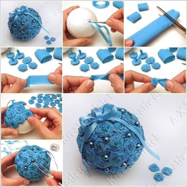 Beautiful crepe paper roses christmas ball ornament for Ball decoration ideas