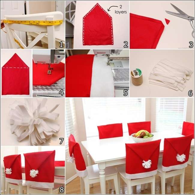 Make These Amazing Santa Hat Chair Covers For Christmas