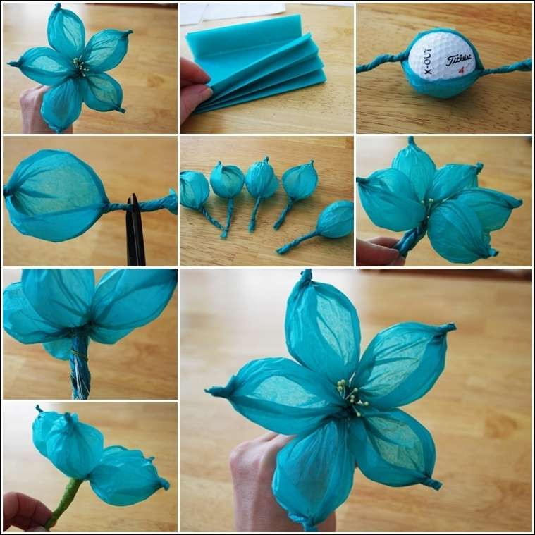 Stunning tissue paper flower made with a golf ball 1 mightylinksfo