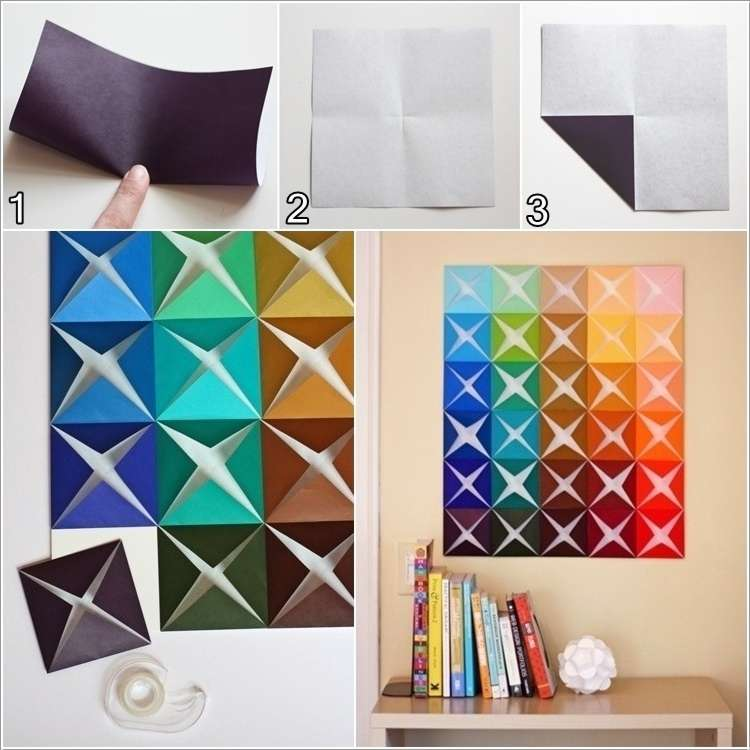 How about making this folded paper wall art - Como decorar paredes ...
