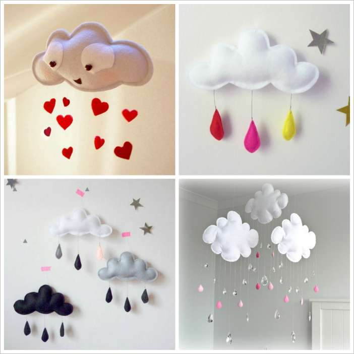 craft this cloud mobile for your baby nursery. Black Bedroom Furniture Sets. Home Design Ideas