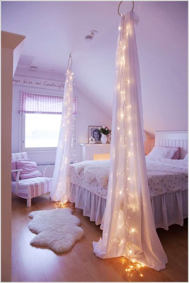10 amazing string lights diy decorating ideas. Black Bedroom Furniture Sets. Home Design Ideas