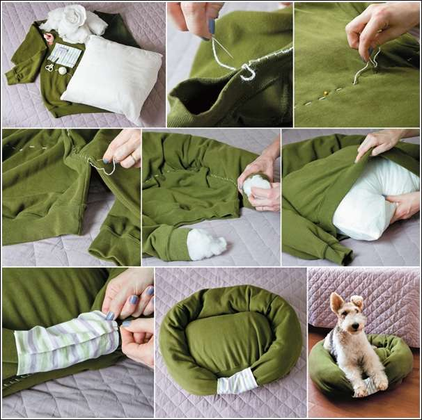 Recycle a sweater into a cat or dog bed - Como hacer camitas para perros ...