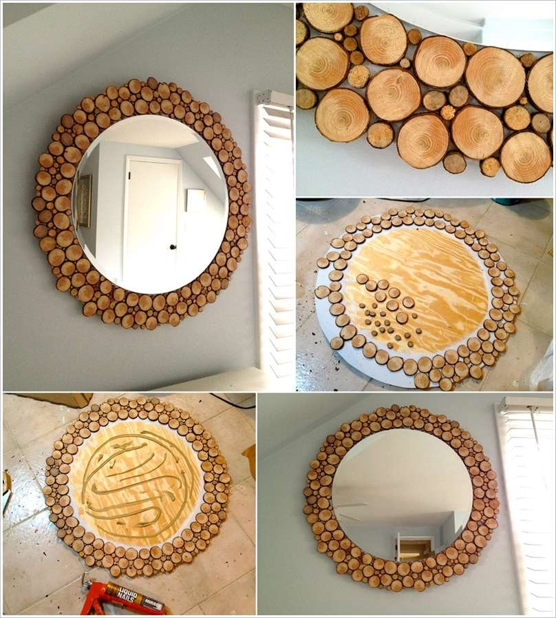 Awesome Wood Slices Round Mirror To Decorate Your Blank Wall