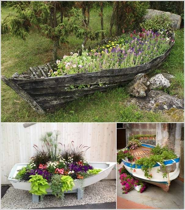 10 ingenious ideas to repurpose old boats for Garden design troller boat