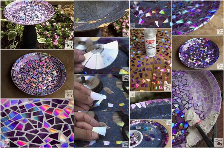 Upcycled DVDs Mosaic Birdbath for Your Garden