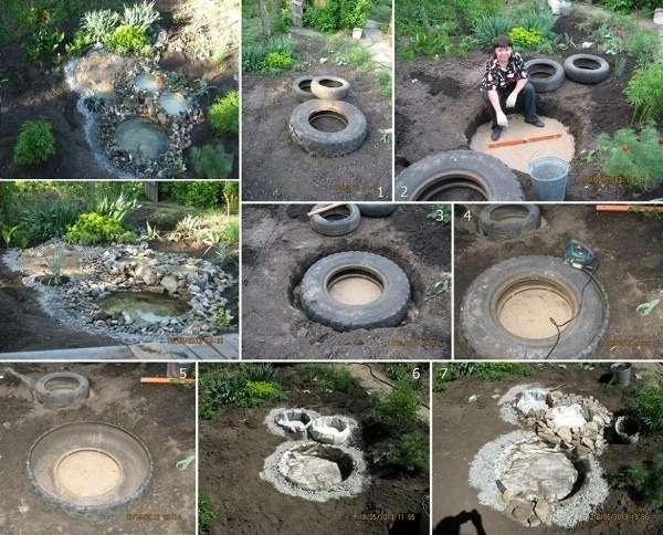 10. Decorative tire pond