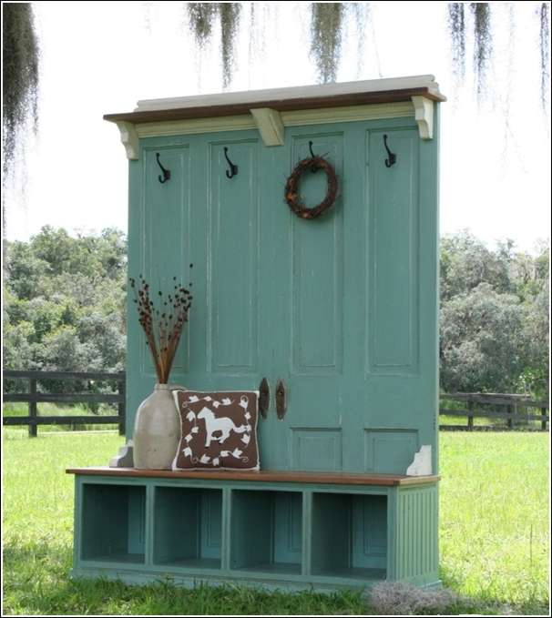 Old door recycled as an awesome entryway bench - Front entry storage ideas ...