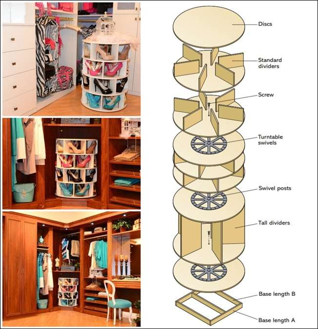 This diy lazy susan shoe rack is just awesome for shoe storage - Armoire rangement chaussures ...