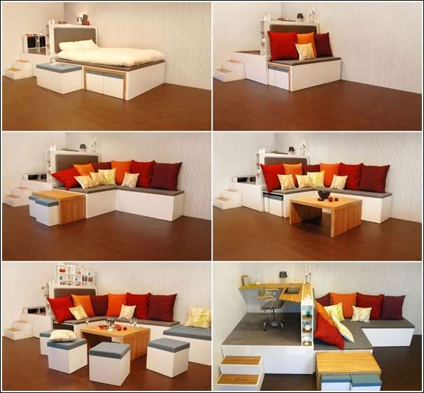 5 amazing space saving ideas for small bedrooms for Space saver living room designs