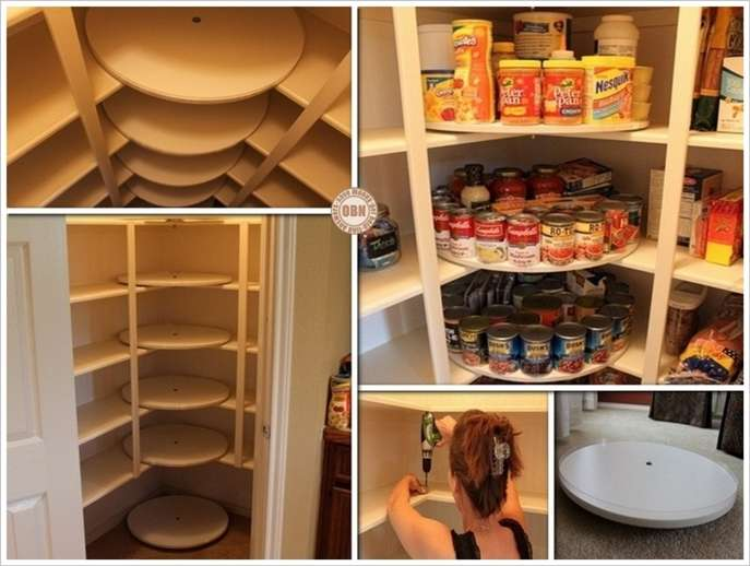 this diy lazy susan pantry is just perfect for food storage