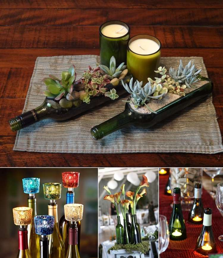 5 creative wine bottle centerpiece ideas for parties and for Wine bottle ideas for weddings
