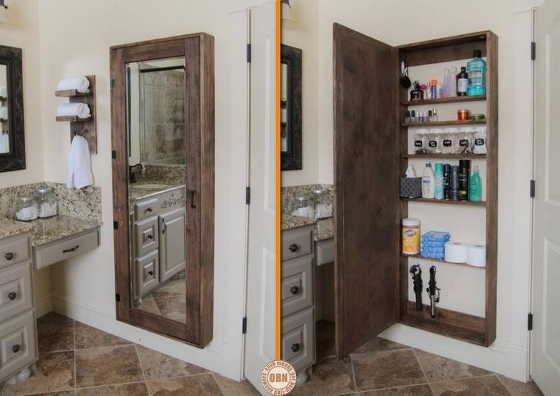 Diy secret bathroom storage unit - Bathroom mirror with hidden storage ...