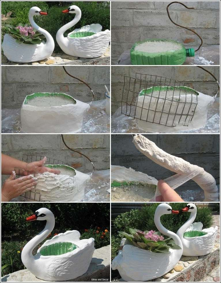 Try these plastic bottle swan planters for your garden - Plastic swan planter ...