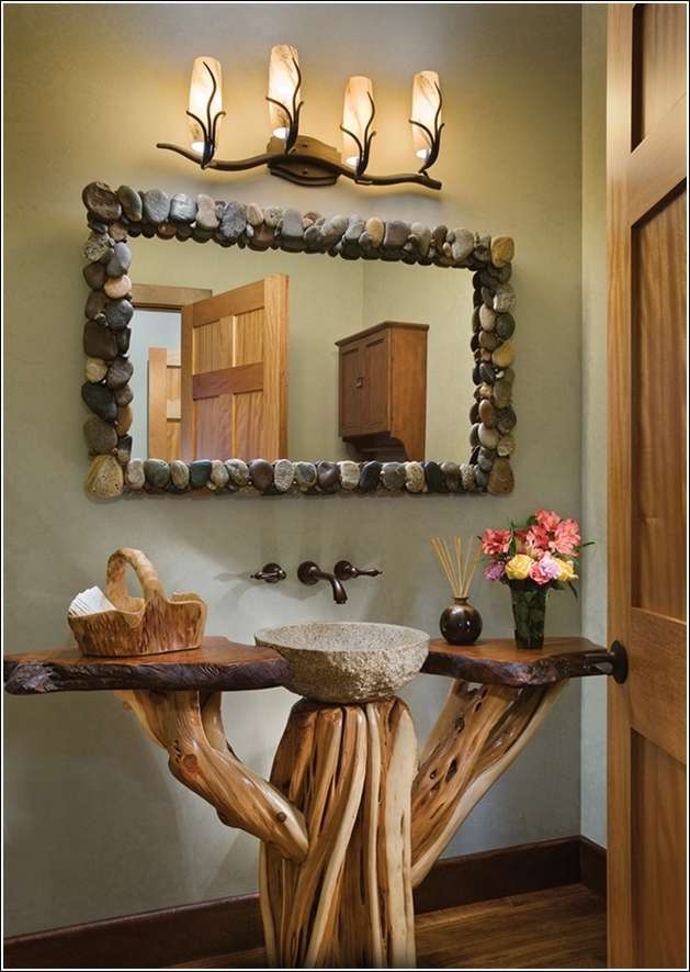 Exceptionnel 1. Rustic Log Bathroom Vanity