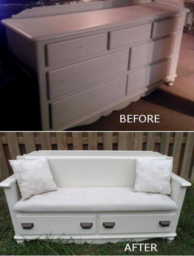 DIY Transform Your Old Dresser Into Fabolous Bench
