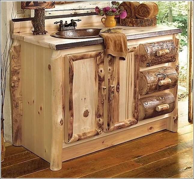 Place a Rustic Log Vanity in Your Bathroom or Kitchen
