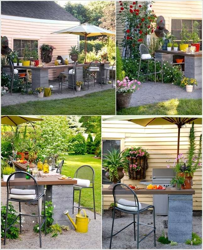 10 Spectacular Ideas to Decorate with Concrete Blocks -> Table Bar Jardin