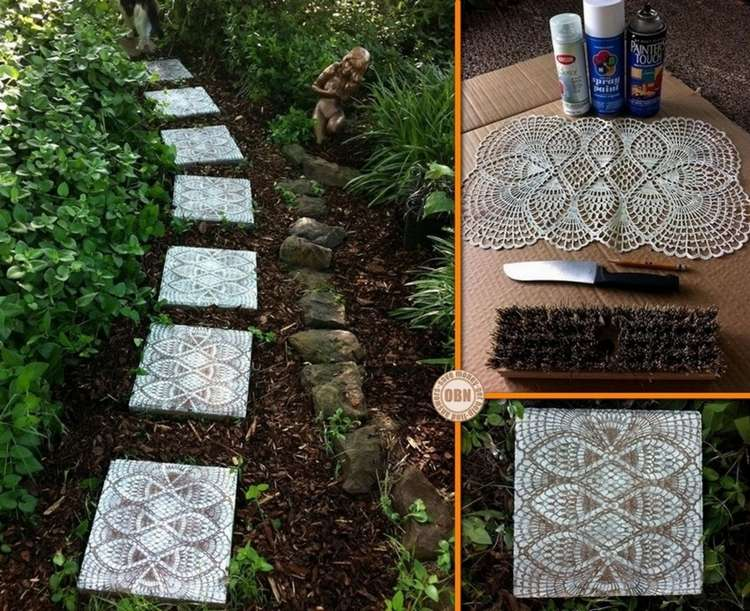 make some fabulous lace like stepping stones for your garden. Black Bedroom Furniture Sets. Home Design Ideas