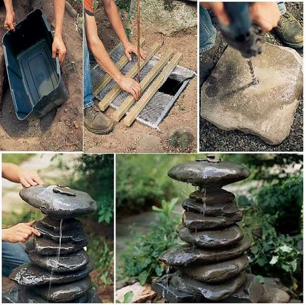 Very Best Diy Stacked Rock Fountain Na14