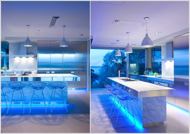 a glamorous kitchen with led strip lighting 2 - Led Kitchen Lighting Ideas