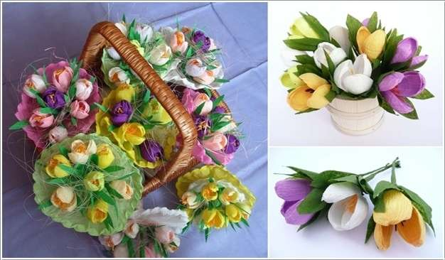 How awesome is this crepe paper spring flower bouquet make more flowers in the same way and you can use an assortment of colors too happy crafting mightylinksfo