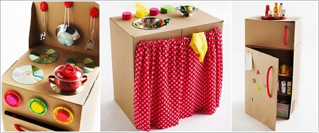 Make This Amazing Cardboard Play Kitchen For Your Little Girl