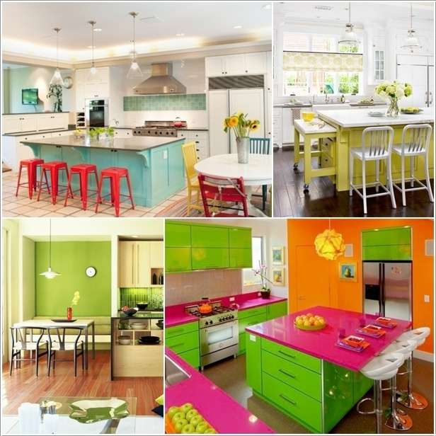 5 bright and colorful kitchen designs that are simply fabulous - Cheerful bright kitchen color ideas for sleek interior layout ...