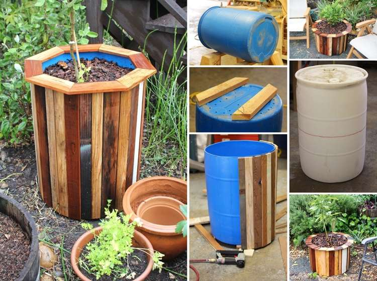 Plastic barrel and pallets got recycled into this amazing for Reciclaje para jardin
