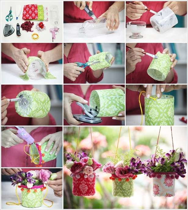 Craft these easy hanging plastic bottle vases for party decor for Easy wealth out of waste