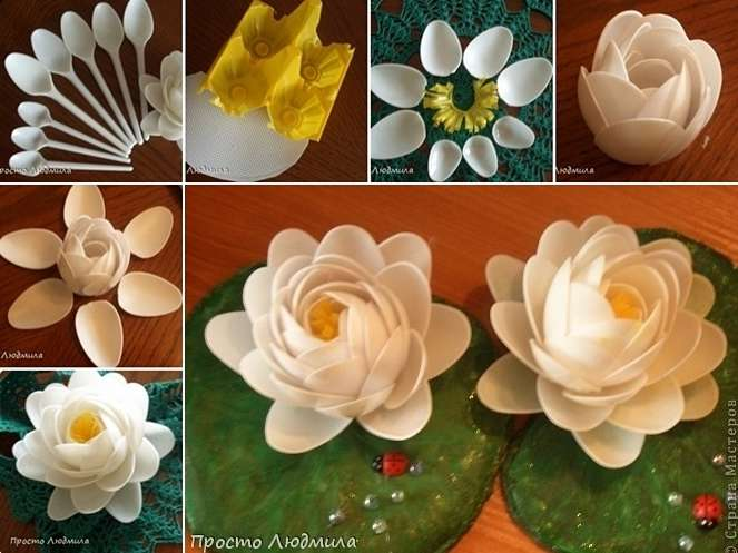 Plastic Spoons Met Creativity And Became These Water Lilies