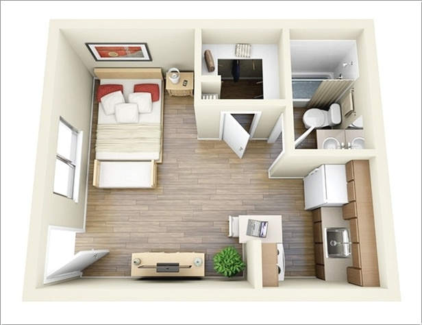 1 a floor plan with an open plan kitchen - One Bedroom Apartment Design