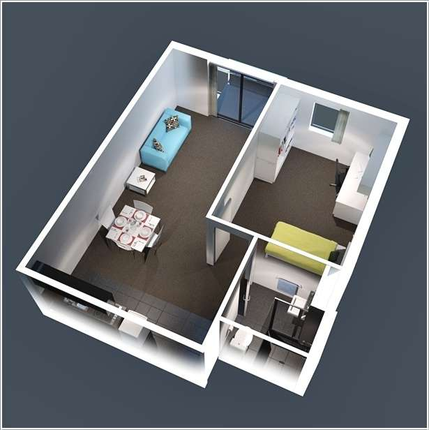 10 ideas for one bedroom apartment floor plans - One room apartment design plan ...