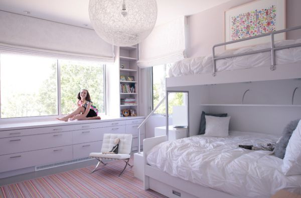 Contemporary-girls-bedroom-in-white-with-plush-bunk-beds