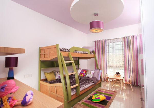 Lovely-girls-bedroom-with-a-colorful-bunk-bed